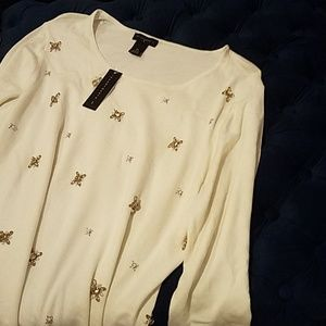 Investments Crewneck Embellished Sweater NWT